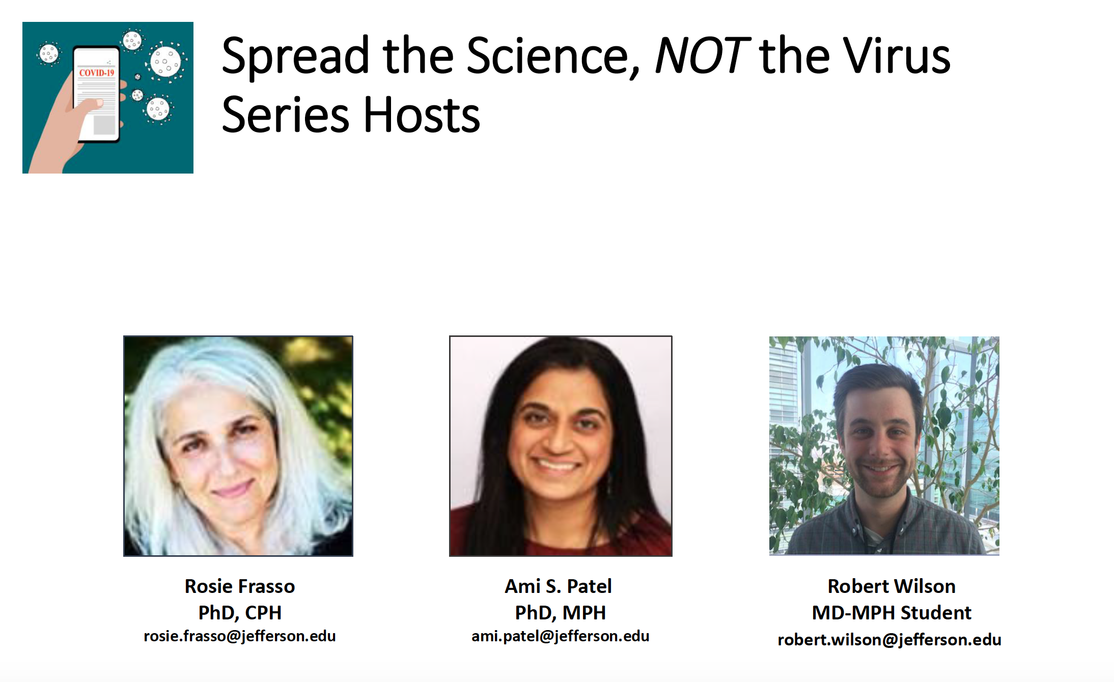 COVID-19: Spread the Science, not the Virus Seminar Series